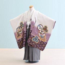男児袴レンタル(5-22)白×紫/たか