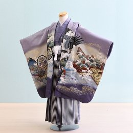 男児袴レンタル(5-31)うす紫/かぶと