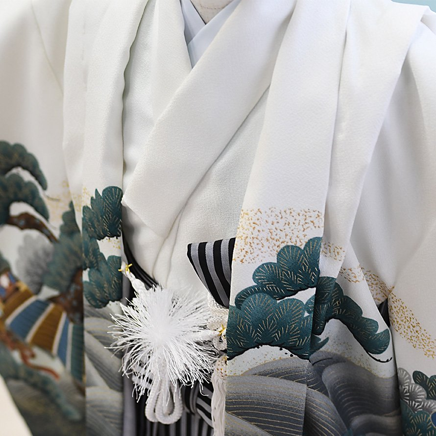 男児袴レンタルセット(5-23)白・緑×白/かぶと