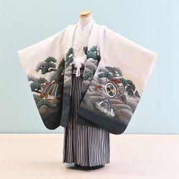 男児袴レンタル(5-23)白×緑・白/かぶと