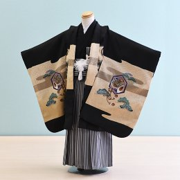 男児袴レンタル(5-10)黒/たか