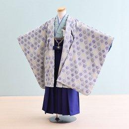男児袴レンタル(5-43)水色/家紋柄・立涌 ひさかたろまん みに