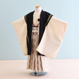 男児袴レンタル(5-44)黒×ベージュ/無地 ひさかたろまん みに