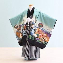 男児袴レンタル(5-54)緑/かぶと