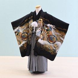 男児袴レンタル(5-65)黒/かぶと