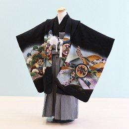男児袴レンタル(5-67)黒/たか・御所車