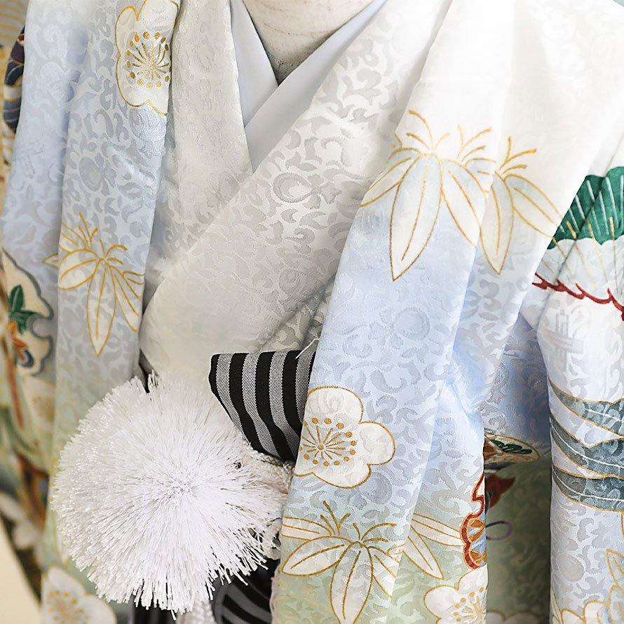 七五三着物五歳羽織袴レンタルセット(5-97)白×白/たか 100/小さめ三歳も可