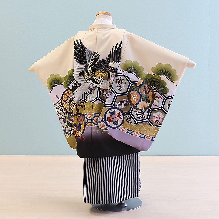 七五三着物五歳羽織袴レンタルセット(5-98)クリーム×白/たか 100/小さめ三歳も可