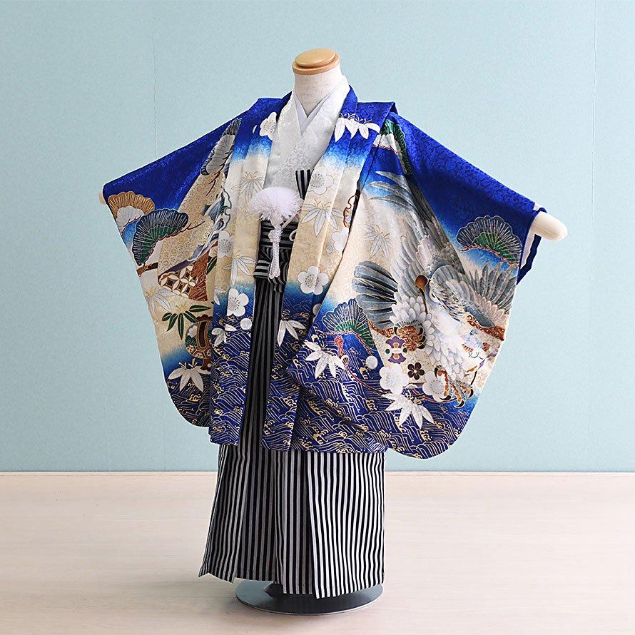 七五三着物五歳羽織袴レンタルセット(5-99)青×白/たか 100/小さめ三歳も可