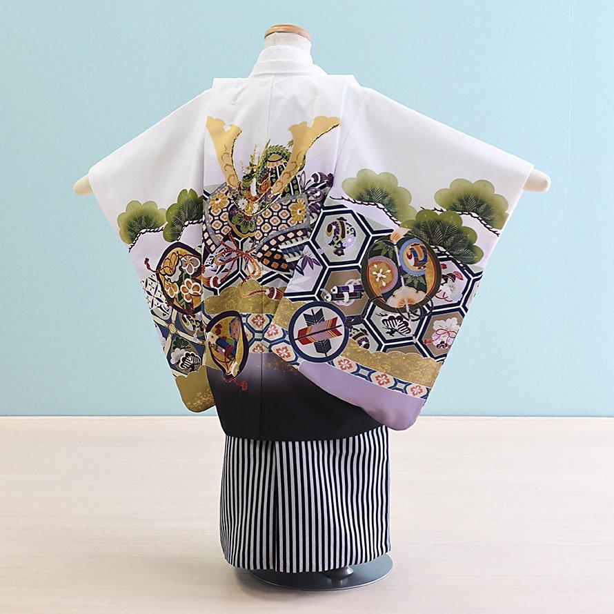 七五三着物五歳羽織袴レンタルセット(5-100)白×白/かぶと 100/小さめ三歳も可