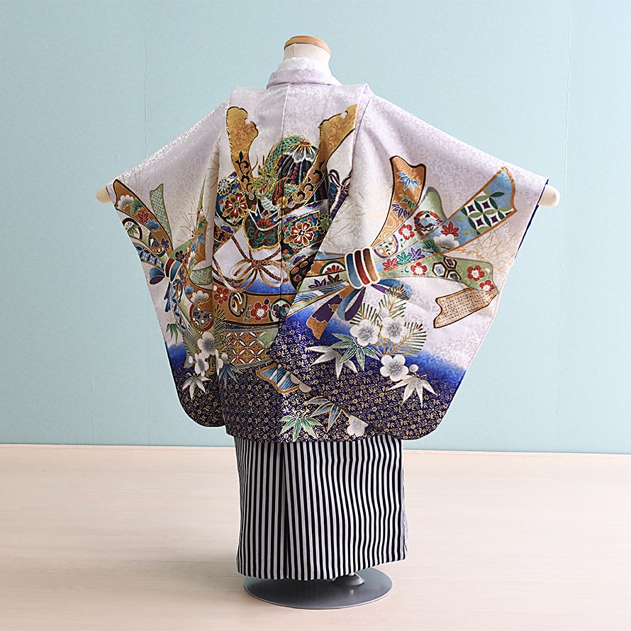 七五三着物五歳羽織袴レンタルセット(5-101)クリーム青×白/かぶと 100/小さめ三歳も可