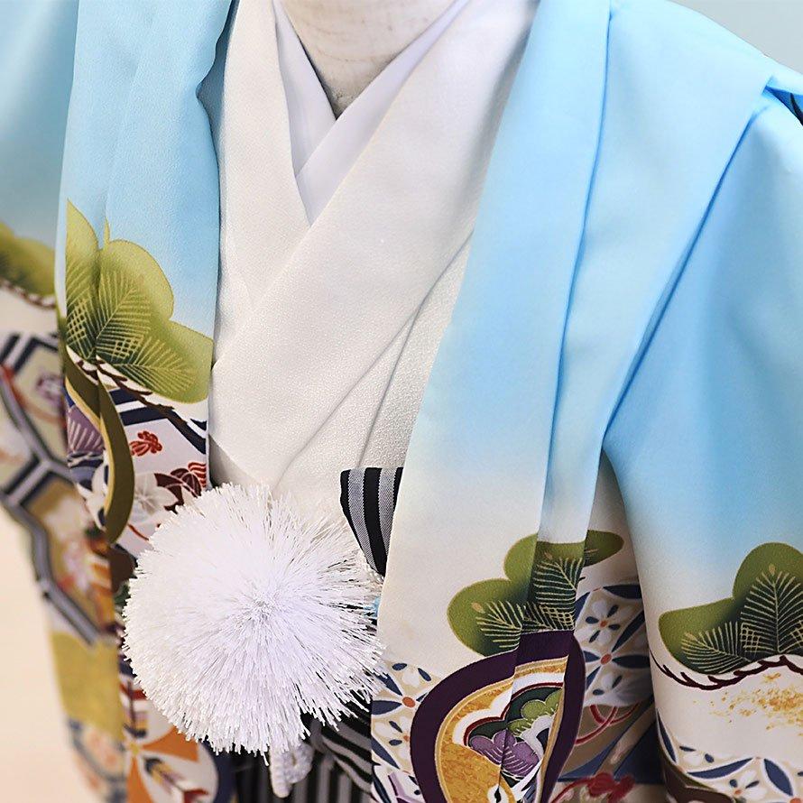 七五三着物五歳羽織袴レンタルセット(5-102)水色×白/たか 100/小さめ三歳も可