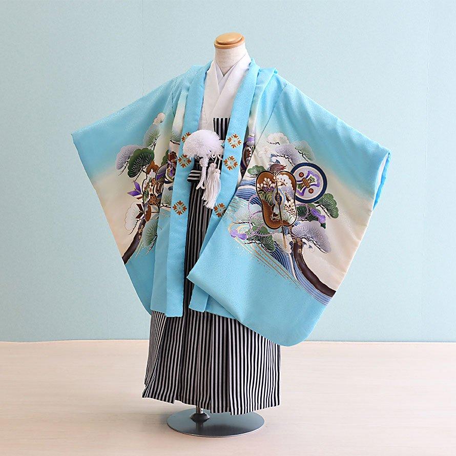 七五三着物五歳羽織袴レンタルセット(5-103)水色×白/かぶと