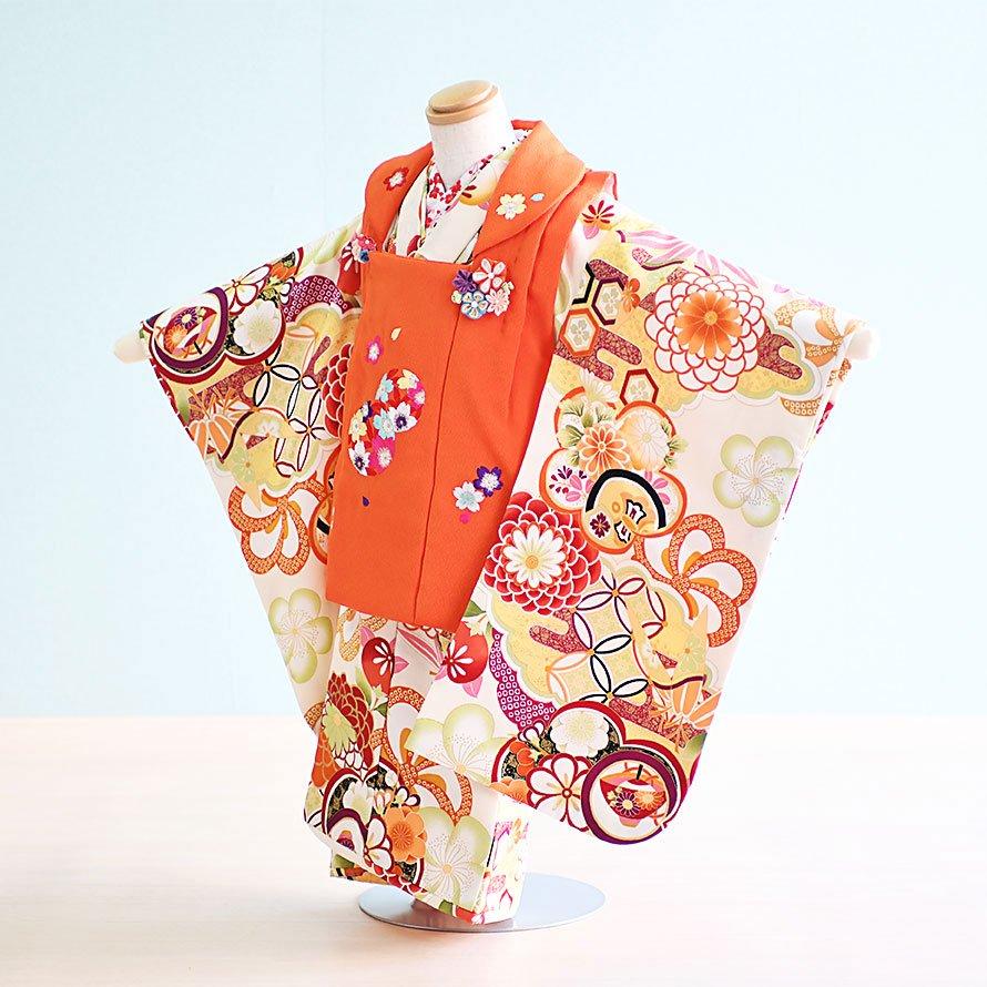 七五三着物三歳被布レンタルセット(3-117)クリーム・オレンジ/花