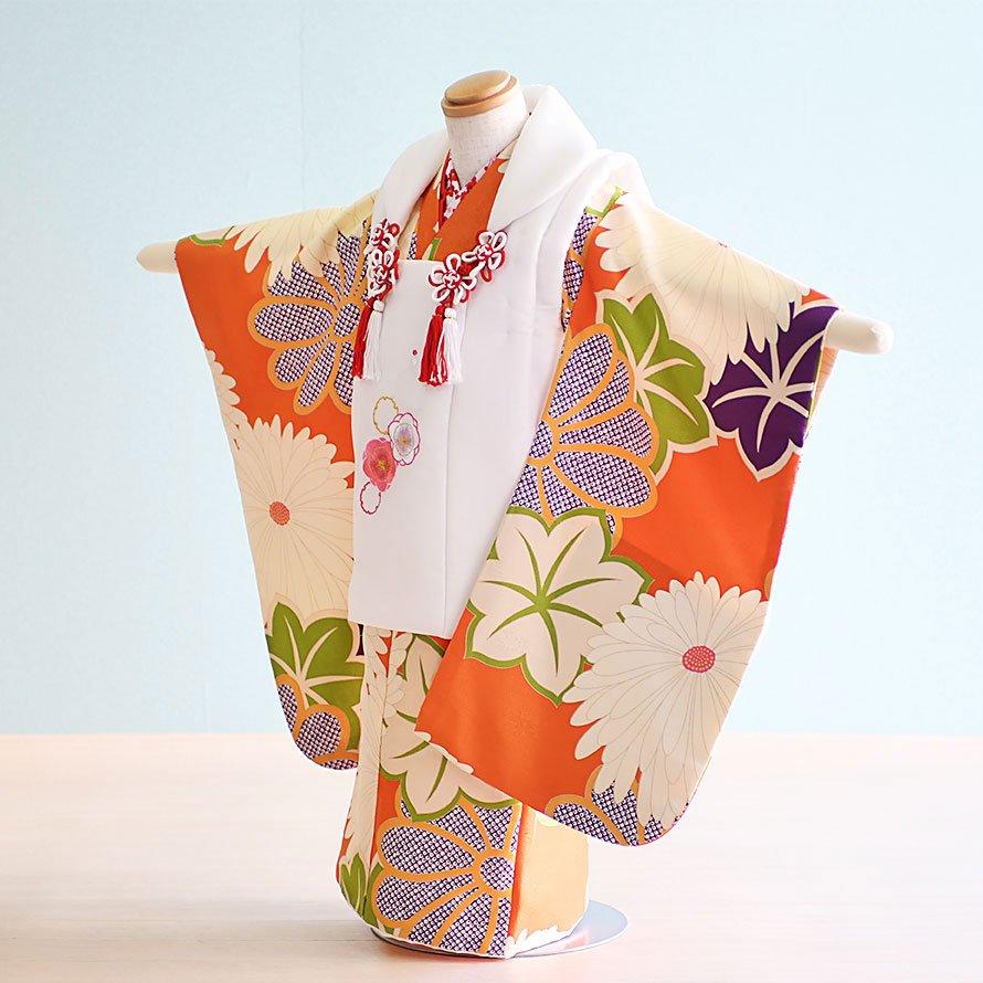 七五三着物三歳被布レンタルセット(3-118)オレンジ・クリーム/花