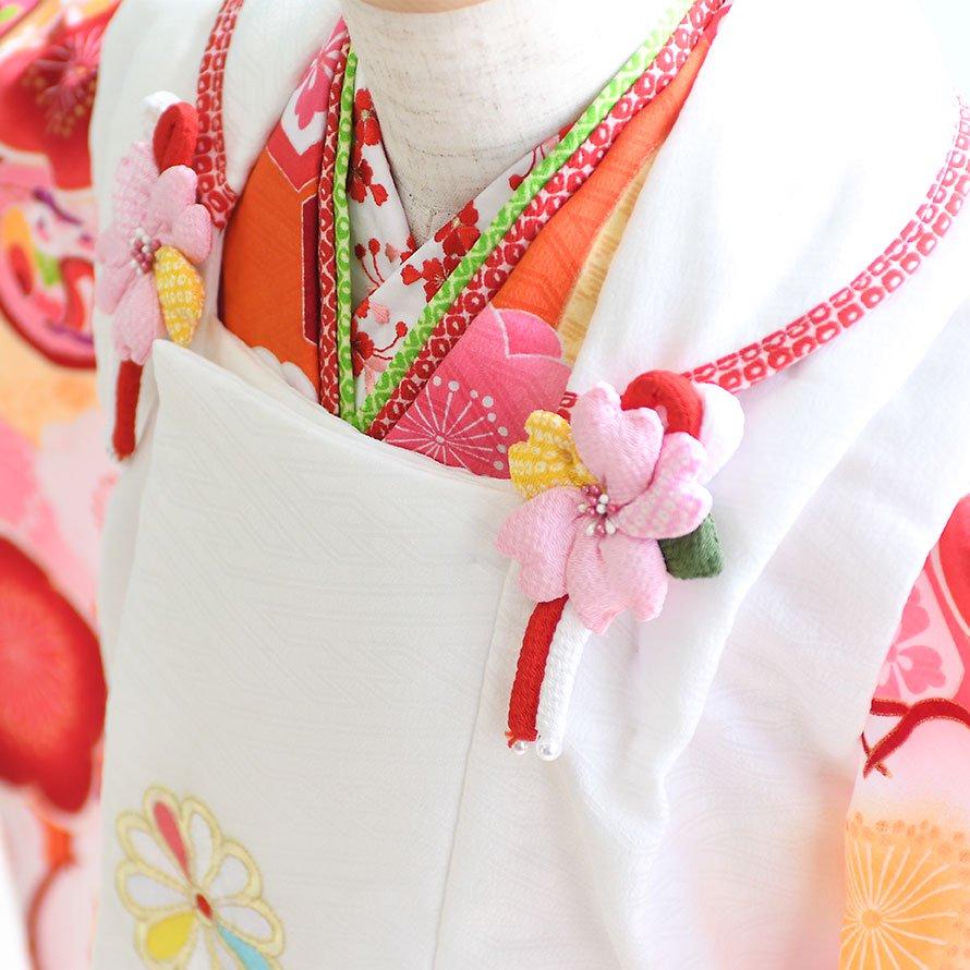 七五三着物三歳被布レンタルセット(3-122)オレンジ・白/花・まり 式部浪漫