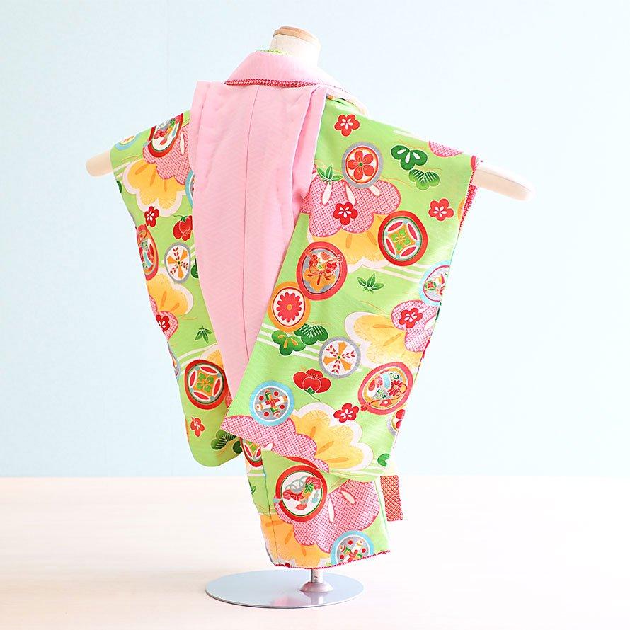七五三着物三歳被布レンタルセット(3-124)黄緑・ピンク/花・松 式部浪漫