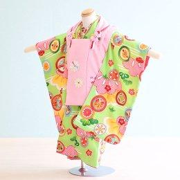 七五三着物三歳女の子レンタル(3-124)黄緑・ピンク/花・松 式部浪漫