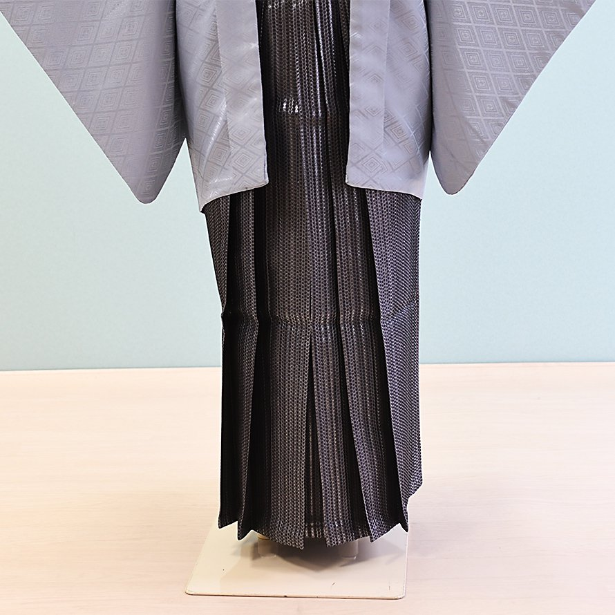 12〜13歳男児ジュニア袴レンタルセット(JB-20)薄いグレー|濃いグレー/縞