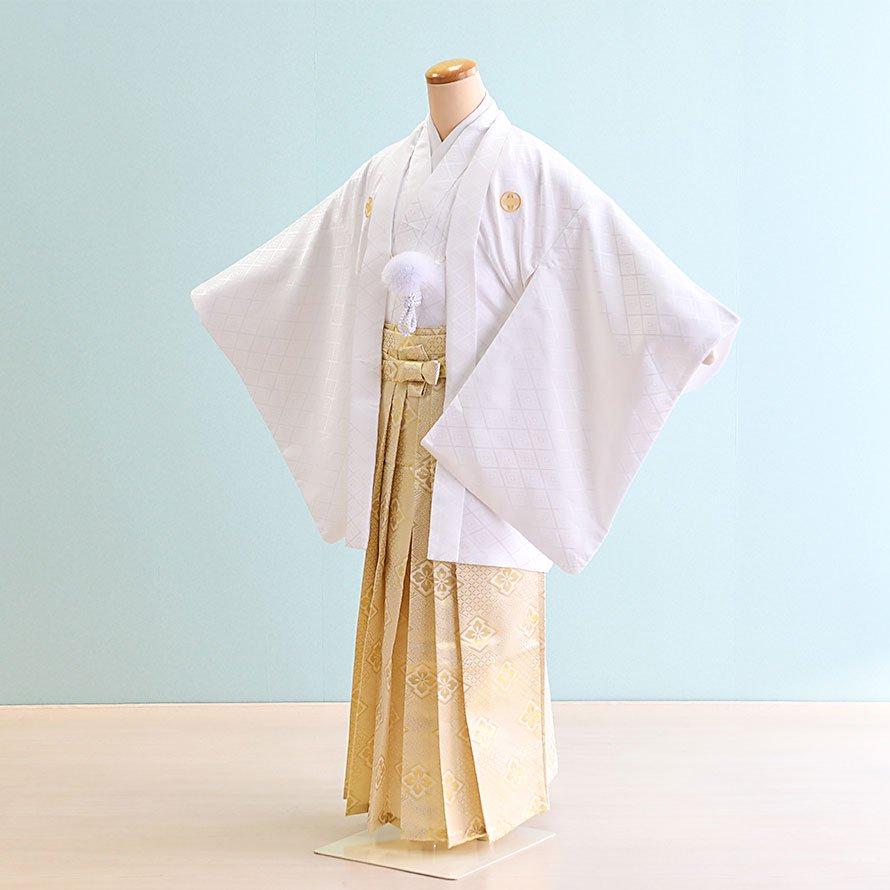 12〜13歳男児ジュニア袴レンタルセット(JB-21)白|金・花菱