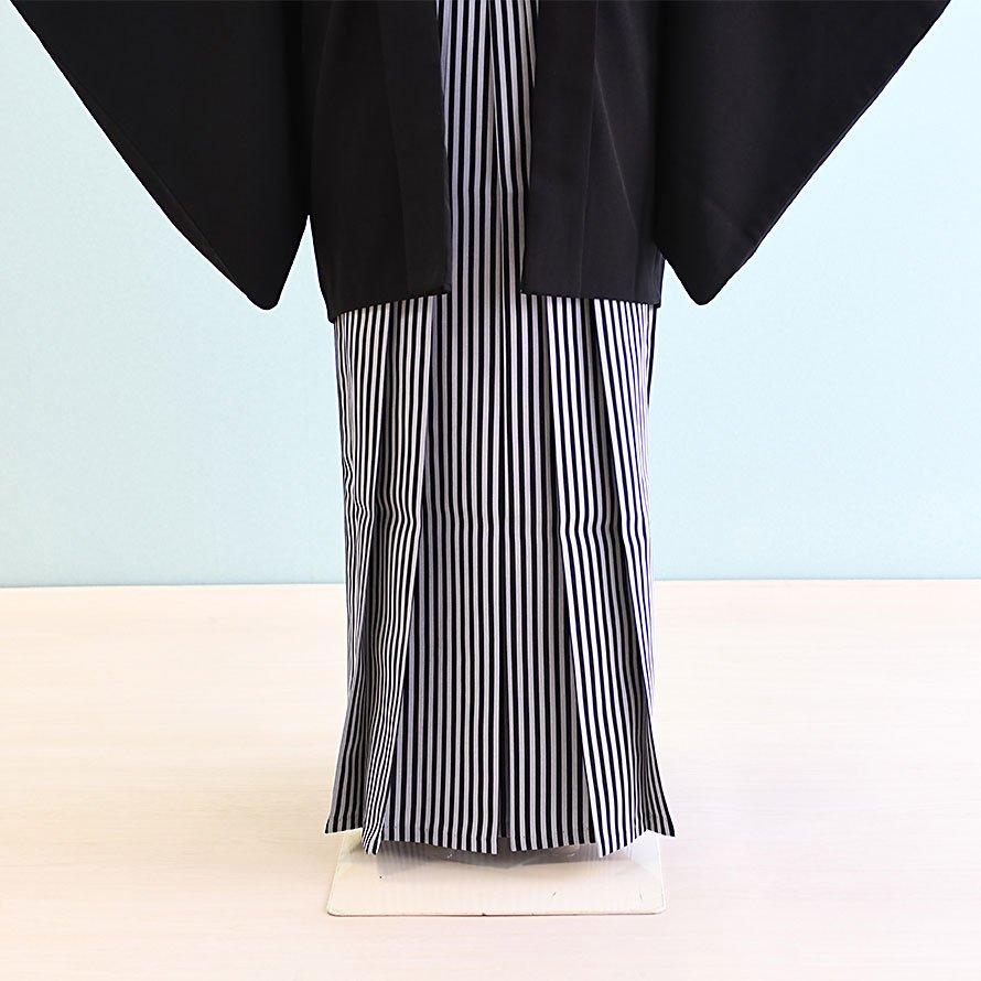 12〜13歳男児ジュニア袴レンタルセット(JB-22)黒|黒・グレー/縞