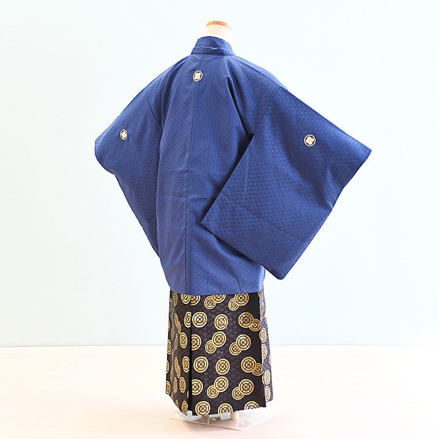 12〜13歳男児ジュニア袴レンタルセット(JB-23)青|黒・金/紋