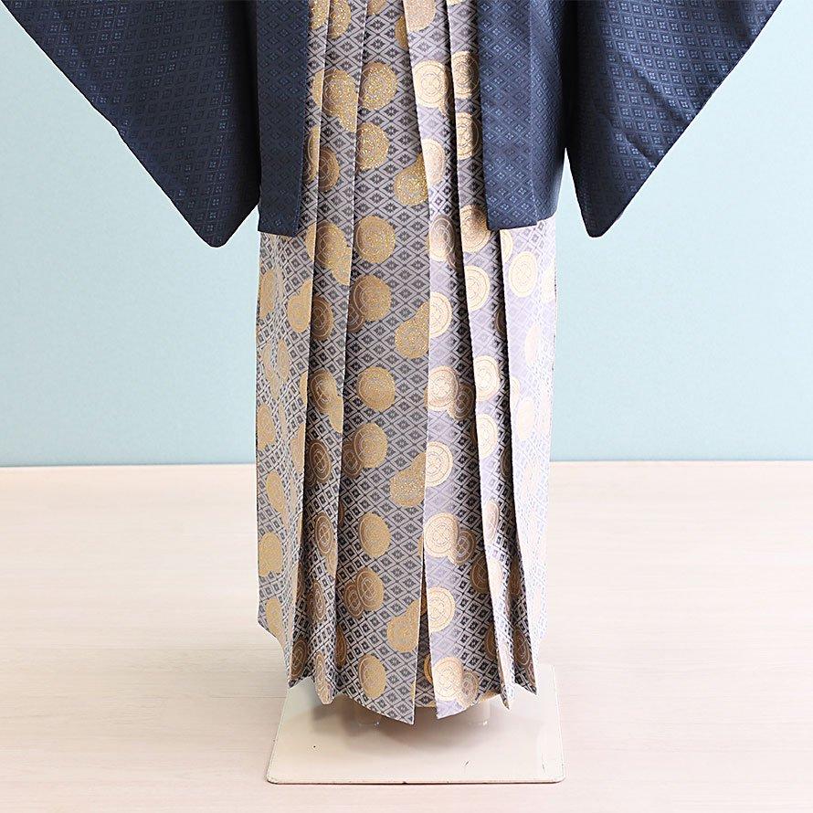 12〜13歳男児ジュニア袴レンタルセット(JB-24)グレー|グレー・金/紋