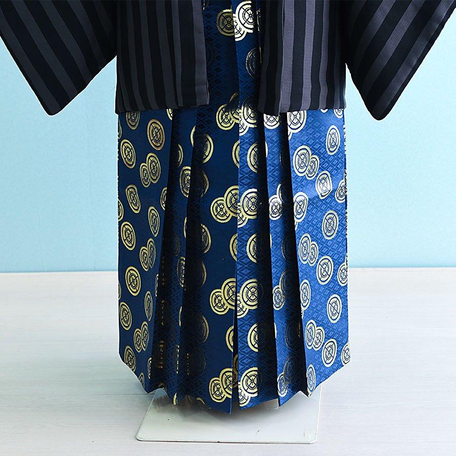 12〜13歳男児ジュニア袴レンタルセット(JB-25)グレー・黒/縞 青・金/紋