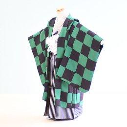 七五三着物五歳男の子レンタル(5-105)紺×緑/格子柄