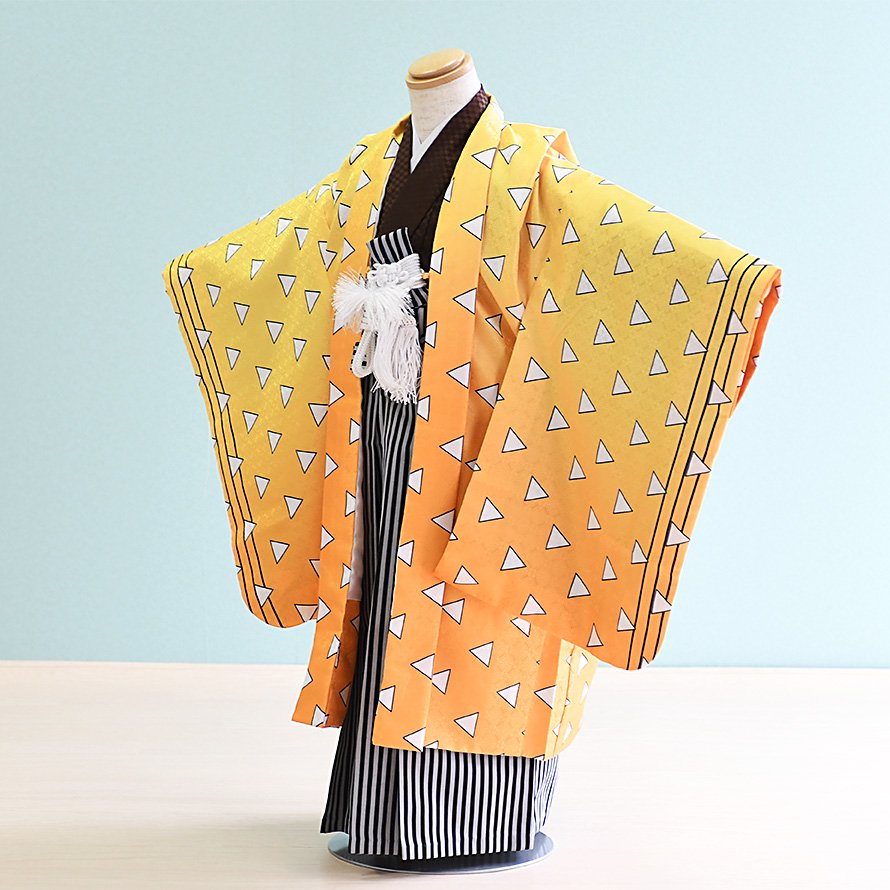 七五三着物五歳男の子レンタル(5-106)黄/幾何学模様