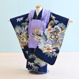 七五三着物三歳男の子レンタル(3M-17)うす紫×青/松・竹・かぶと 陽気な天使