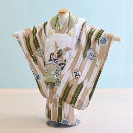 七五三着物三歳男の子レンタル(3M-18)若草色・白×若草色・ベージュ/竹・矢羽 花うさぎ