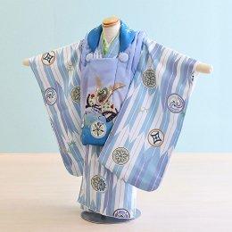 七五三着物三歳男の子レンタル(3M-19)うす青紫×白・水色/竹・矢羽 花うさぎ