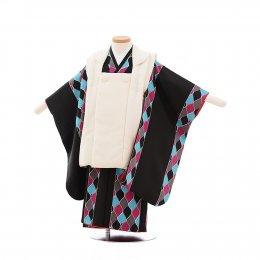 七五三着物三歳男の子レンタル(3MC004)白×黒/ファスナー柄