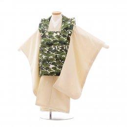 七五三着物三歳男の子レンタル(3MC006)緑×ベージュ/かぶと