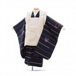 七五三着物三歳男の子レンタル(3MC008)ベージュ×紺/ボーダー・うさぎ