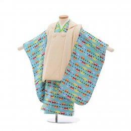 七五三着物三歳男の子レンタル(3MC011)クリーム×水色/くるま 正絹