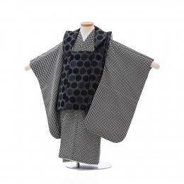 七五三着物三歳男の子レンタル(3MC012)グレー×黒・白/ドット・市松