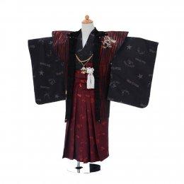 七五三着物五歳男の子レンタル(05C002)ワイン×黒 ブルークロス