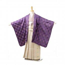 七五三着物五歳男の子レンタル(05C009)紫/格子 ひさかたろまん