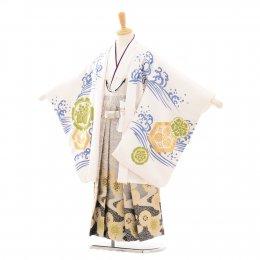 七五三着物五歳男の子レンタル(05C016)白/出世鯉・流水 花わらべ