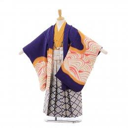 七五三着物五歳男の子レンタル(05C019)紫/虎 花わらべ