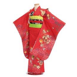 七五三着物七歳女の子レンタル(07C001)赤/桜・市松