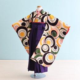 女児袴レンタル(7HC030)6〜7歳 クリーム色/丸柄|パープル袴