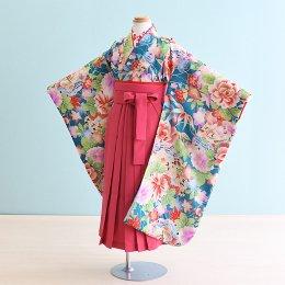 女児袴レンタル(7HC039)6〜7歳 緑/ぼたん 式部クラシック|ピンク袴