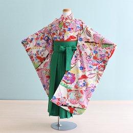 女児袴レンタル(7HC040)6〜7歳 白/古典 式部クラシック|グリーン袴