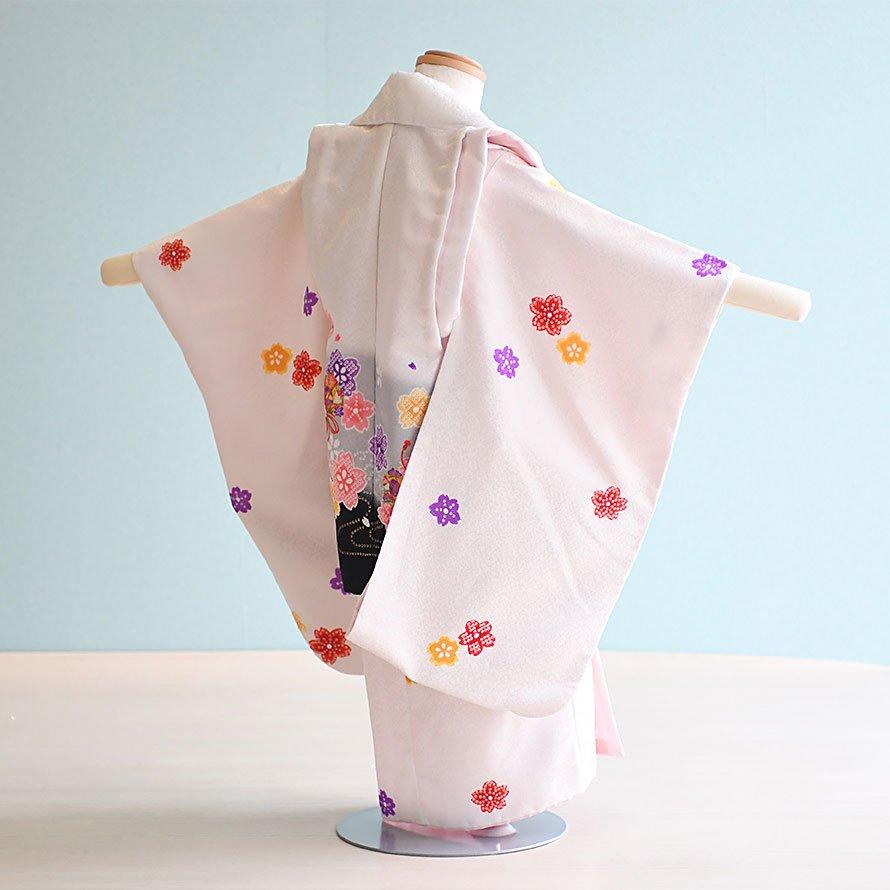 七五三着物三歳被布レンタルセット(3-13)白/桜・まり