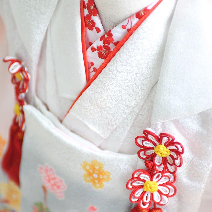 七五三着物三歳被布レンタルセット(3-13)白×黒/桜・まり