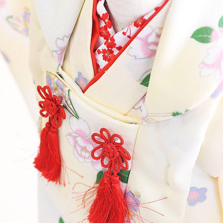 七五三着物三歳被布レンタルセット(3-20)白/桜