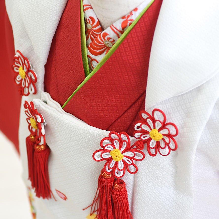 七五三着物三歳被布レンタルセット(3-24)赤×白/まり